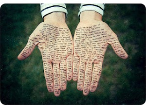 hands with writing on them
