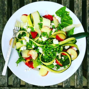 peachy pea and feta salad