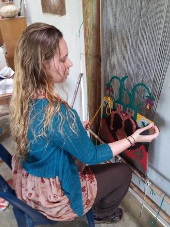 Weaving in studio