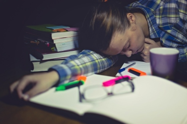 Tired female student sleeping on desk near laptop and books